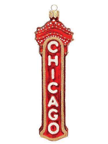 Chicago Marquee Sign Polish Mouth Blown Glass Christmas Ornament