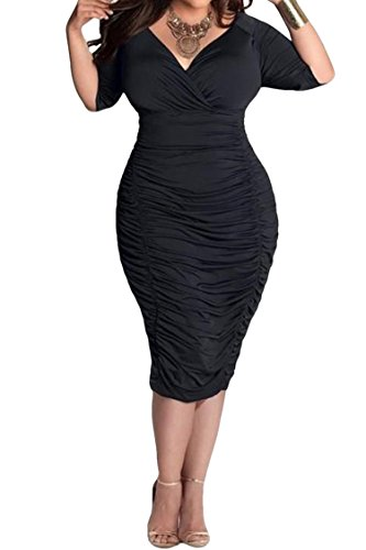 LaSuiveur Ladies Plunge Pleated Party Dresses Plus Size Bodycon Dress XL Black