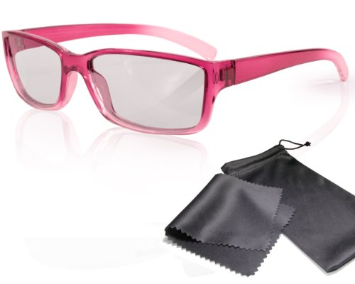 3D Movie Glasses for Children - High Quality - pink / transparent - Passive Circularly Polarized - For Reald 3D Cinema and Passive 3D Tvs Such As Lg