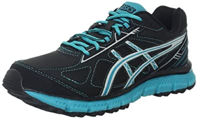 ASICS Women's GEL-Scram 2 Trail Running Shoe,Black/Lightning/Teal,9 M US