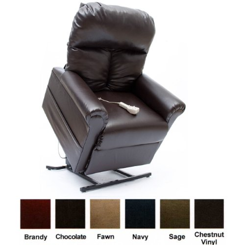 Mega Motion Power Easy Comfort Lift Chair Lifting Recliner LC-100 with Heat and Massage Infinite Position Rising Electric Chaise Lounger – Chestnut Vinyl