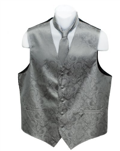 Fine Brand Shop Men's Grey Paisley Jacquard Suit Vest and Neck Tie Set - Medium