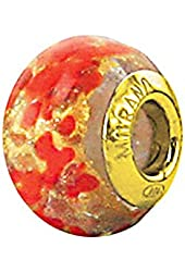 Zable Sterling Silver Yellow Color Plated Orange and Yellow Dots Glass Bead