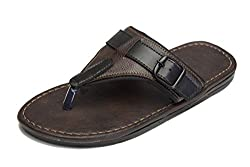 Butchi Brown And Black Synthetic Leather Slippers