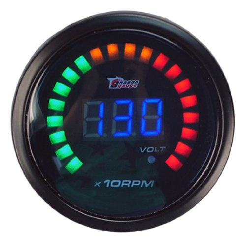 New Auto CAR 2″52mm Digital Color Analog LED Tacho Tachometer Meter Gaug