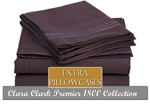 Clara Clark ® Premier 1800 Collection 6 Piece Bed Sheet Set, Includes Extra Pillowcases, King Size, Purple Eggplant front-683766
