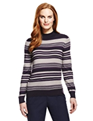 Classic Cashmilon™ Polo Neck Striped Metallic Effect Jumper