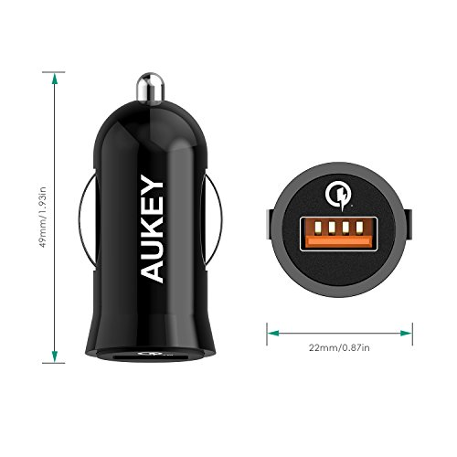AUKEY-Quick-Charge-20-Car-Charger-Qualcomm-Certificato-18W-PowerAll-Charge-per-iPhone-6-6S-6-Plus-5S-Samsung-Galaxy-Note-7-e-altri-Dispositivi-USB-un-1m-Micro-USB-Cavo-da-Quick-Charge-nella-Confezione