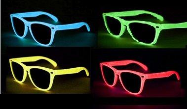 NERD Glow Brillen LEUCHTEN BEI NACHTS versch. Farben (Gelb klarglas B5-2)