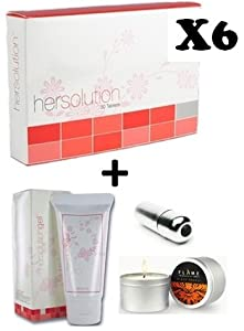 HerSolution Pills - 6 Month Supply - Female Libido Enhancement Pills 2 Month HerSolution Gel Massage Oil Candle Mini Waterproof Vibrator