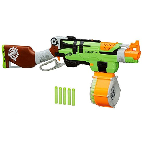 Nerf Zombie Strike SlingFire Blaster Rifle Gun with 25 Dart Drum and 31 Darts Exclusive Limited Edition (Nerf Guns With Magazine compare prices)