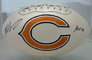 Mike Singletary Autographed Chicago Bears white logo football w/