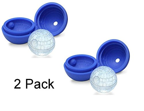 OliaDesign Death Star Silicone Sphere Ice Ball Tray (2 Pack), Blue