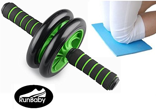 Ab Wheel - Ab Wheel Roller with Soft Grip Handles and Kneeling Mat by Run Baby Sport - Green Ab Wheel (Push Up Wheel compare prices)
