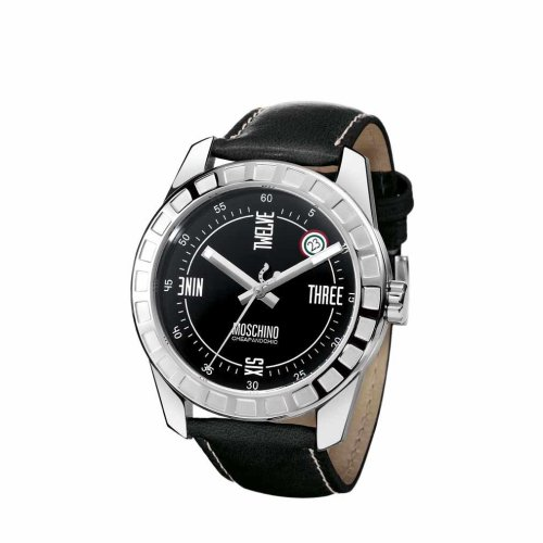 Moschino MW0019 Gents 'Joe Black' Leather Strap Watch