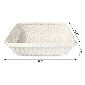 Colorbasket EV02522 Rectangular Thick Trim Storage Basket (Set of 3), Large, White