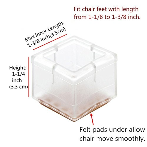 16 X Pcs Chair Leg Caps Furniture Feet Pads Table Covers Square Opening  Anti Slip Prevent Scratches.silicone Wood Floor ...