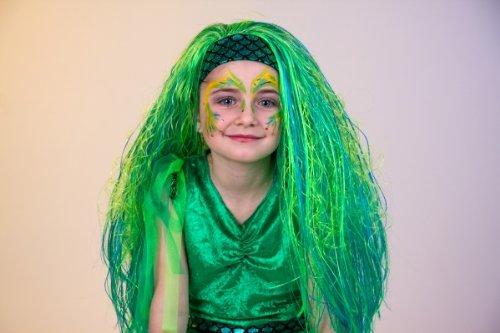 Karneval Mädchen Perücke Nixe türkis zum Meerjungfrau Kostüm