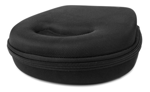 Duragadget Hard Eva Small Storage Case For Headphones / Earbuds For B&W P5, P7 - With Netted Compartment (Black)