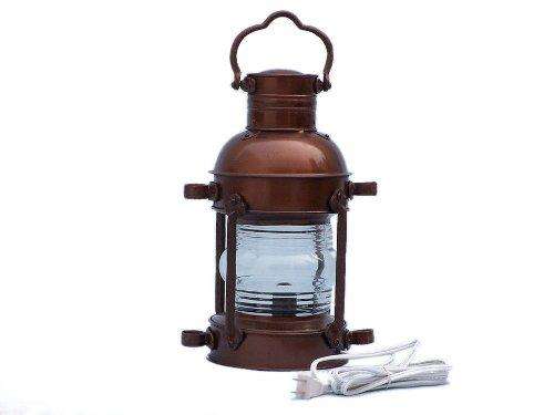 "Handcrafted Nautical Decor Antique Copper Anchor Electric Lantern, 15"", Copper"