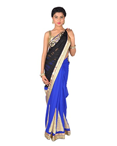 Ctc Mall Black & Blue Brasso And Faux Georgette Saree With Zari & Thread Work