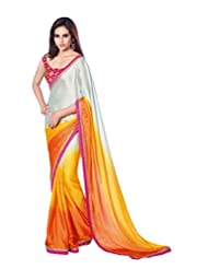 Anvi Creations Orange Yellow White Satin Chiffon Saree (Orange_Free Size)