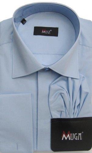 MUGA mens double cuffed Dress shirt, Medium Blue, Size 5XL