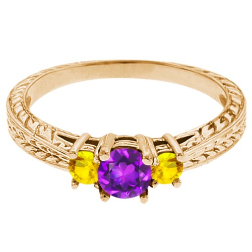 0.62 Ct Round Purple Amethyst Yellow Sapphire 18K Yellow Gold 3-Stone Ring
