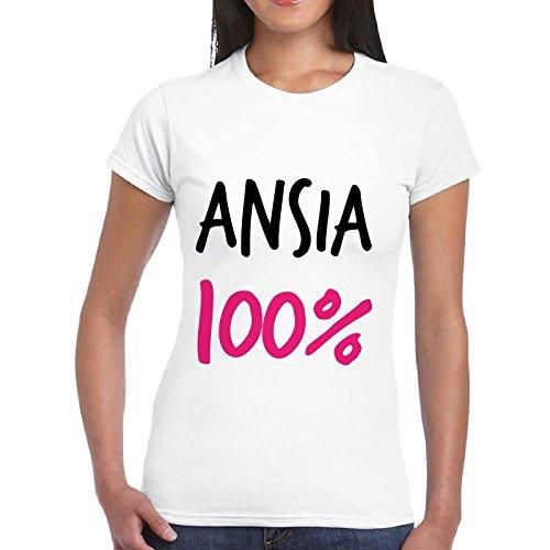 T-Shirt Divertente Donna Maglietta Maniche Corte Cotone Stampa Ansia 100% Linea Fun Basic, Colore: Bianco, Taglia: M