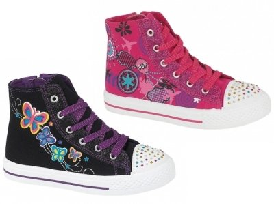NEW GIRLS KIDS CHILDRENS HI TOPS GLITTER STUDDED PLIMSOLLS PUMPS LACE UP ZIP SHOES TRAINERS CANVAS SIZES 10 - 2