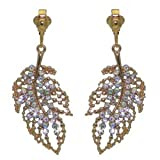 KUMARI Gold AB Crystal Leaf Clip On Earrings