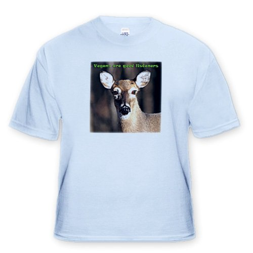 Vegan Slogans Vegans Are Good Listeners Whitetail Deer - Light Blue Infant Lap-Shoulder Tee (24M)