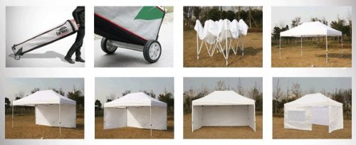 Eurmax 10 x 15  Professional Ez Pop up Canopy Tent Full Aluminum Frame with 4 Walls and Roller Bag (White) image