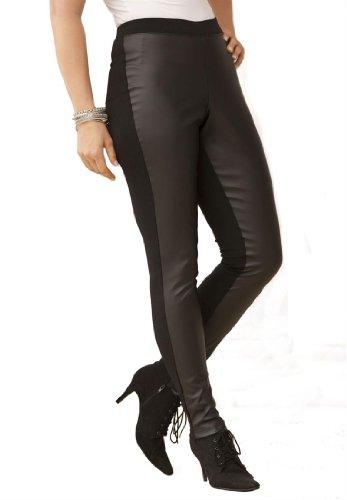 Denim 24/7 Plus Size Faux Leather Front Leggings