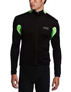 Gore Bike Wear Men's Ozon Windstopper Long Sleeve Jersey, Large, Black/Apple Green