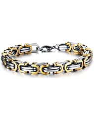 Asma Gold Silver Stainless Steel Byzantine Link Chain For Men