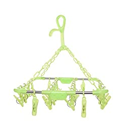 Baby Bucket Plastic Fold-able Portable Hanging Dryer Clothes Drying Hanger Rack with 22 Clips (Green)