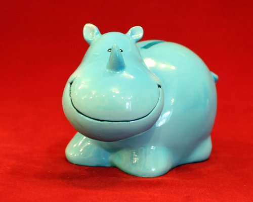 Whimsy BLUE RHINO Piggy Bank. Small