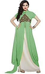Momai Creation Women's Faux Georgette Green Unstitched Dress Material (MCV-LT-11)