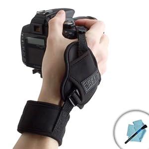 USA Gear DualGRIP Steady Shot Professional DuraNeoprene Wrist Strap for Nikon D600 , D3000 , D3100 , D3200 , D5100 , D5200 , P510 , L810 & More Nikon DSLR Digital Cameras - With Cleaning Kit