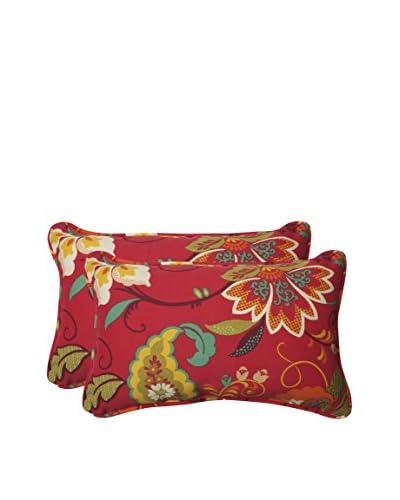 Pillow Perfect Set of 2 Indoor/Outdoor Tamariu Alfresco Valencia Lumbar Pillows, Red