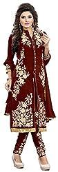 Apnisha Women's Georgette Unstitched Dress Materials (Maroon)