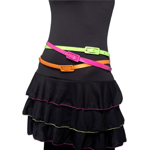 Neon Belts Multipack of 3 80's Style in