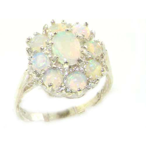Luxury Ladies Solid Sterling Silver Natural Fiery Australian Opal Cluster Ring - Size 12 - Finger Sizes 5 to 12 Available - Suitable as an Anniversary ring, Engagement ring, Eternity ring, or Promise ring