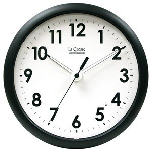 Image of La Crosse Illuminated 403-310A 10 Inch Black frame clock (403-310A)