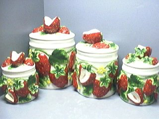 STRAWBERRY 3-D Canister Set of 4 Canisters NICE & NEW