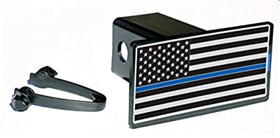 Subdued Thin Blue Line Flag Rect Hitch Cover