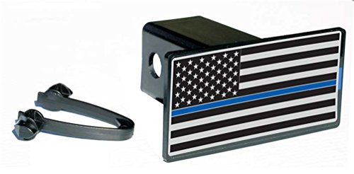 New Subdued Thin Blue Line Flag Rect Hitch Cover