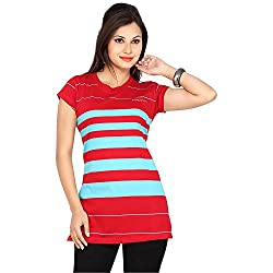 Prova Red and Blue Half Sleeve Women's Cotton Shirt (Size: XX-Large)