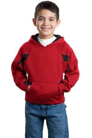 Sport Tek Youth Pouch Pocket Pullover Hooded Sweatshirt, Red/Black, Medium front-917391